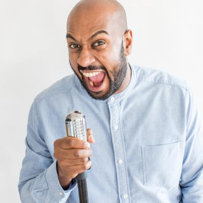 Jill's Comedy Course Graduate Dinesh Nathan in Final of Leicester Mercury Comedian of the Year 2020...